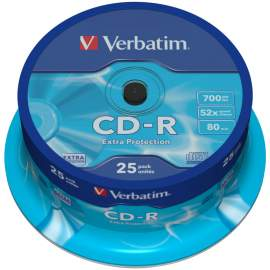 Диск CD-R 700Mb Verbatim 52x Cake Box (25шт), 43439