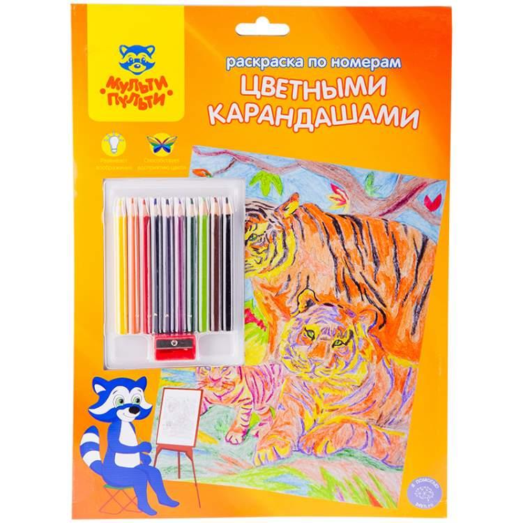 """Купить Раскраска по номерам Мульти-Пульти """"Тигры"""" А4, с ..."""